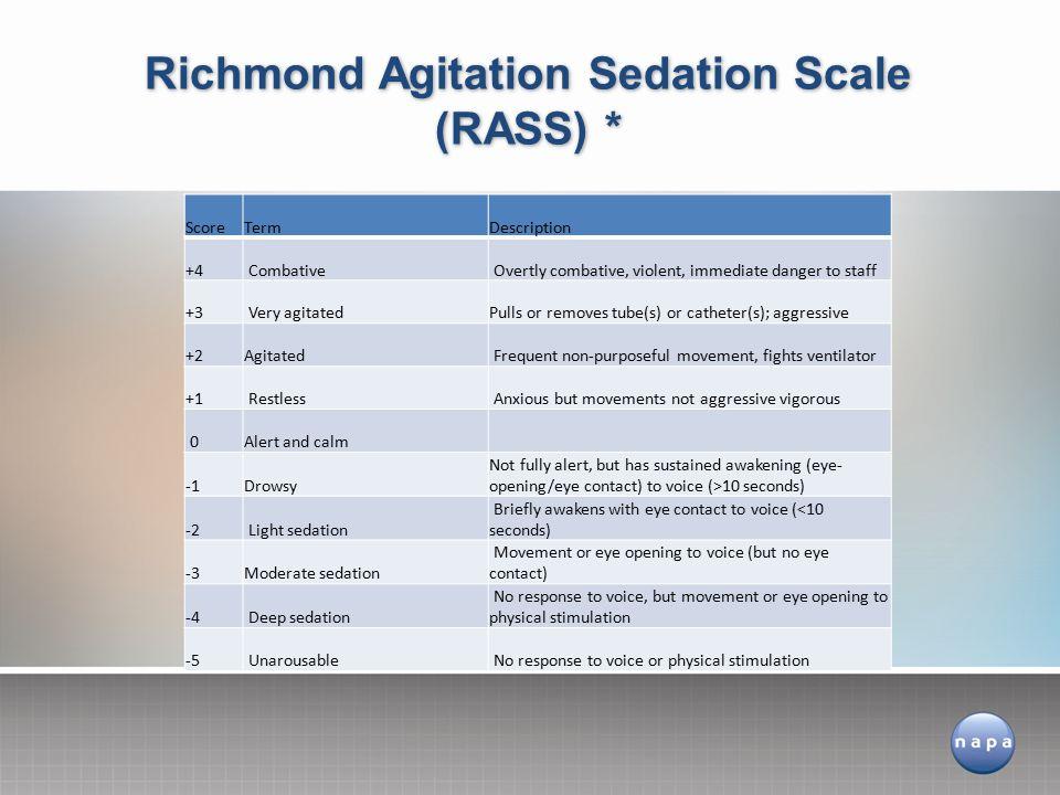 Richmond Agitation Sedation Scale (RASS) *