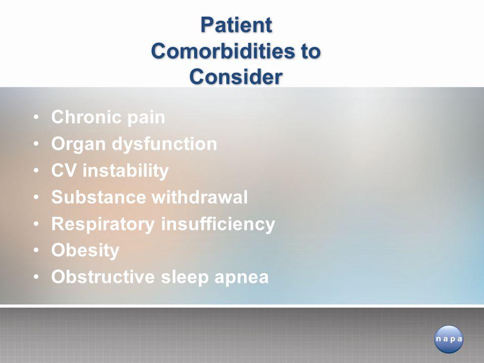 Patient Comorbidities to Consider