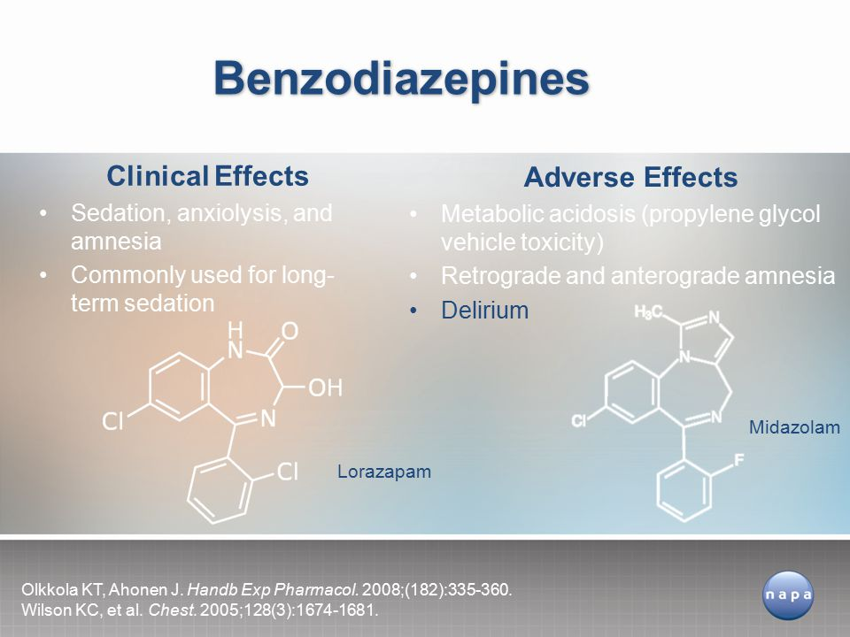 Benzodiazepines Clinical Effects Adverse Effects
