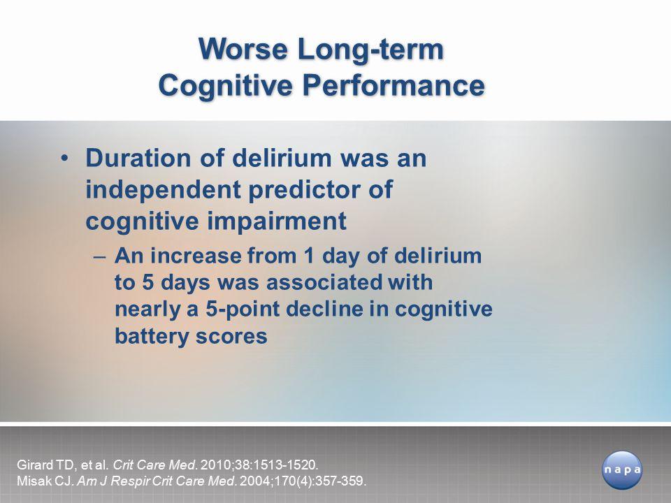 Worse Long-term Cognitive Performance
