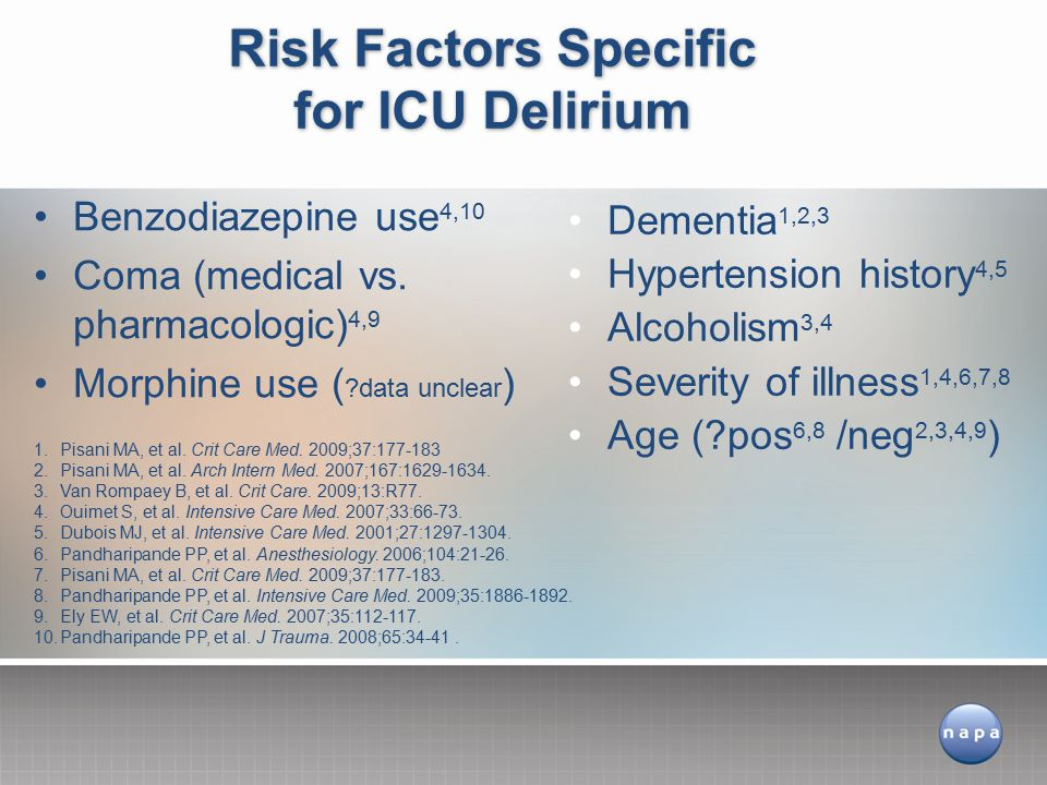 Risk Factors Specific for ICU Delirium