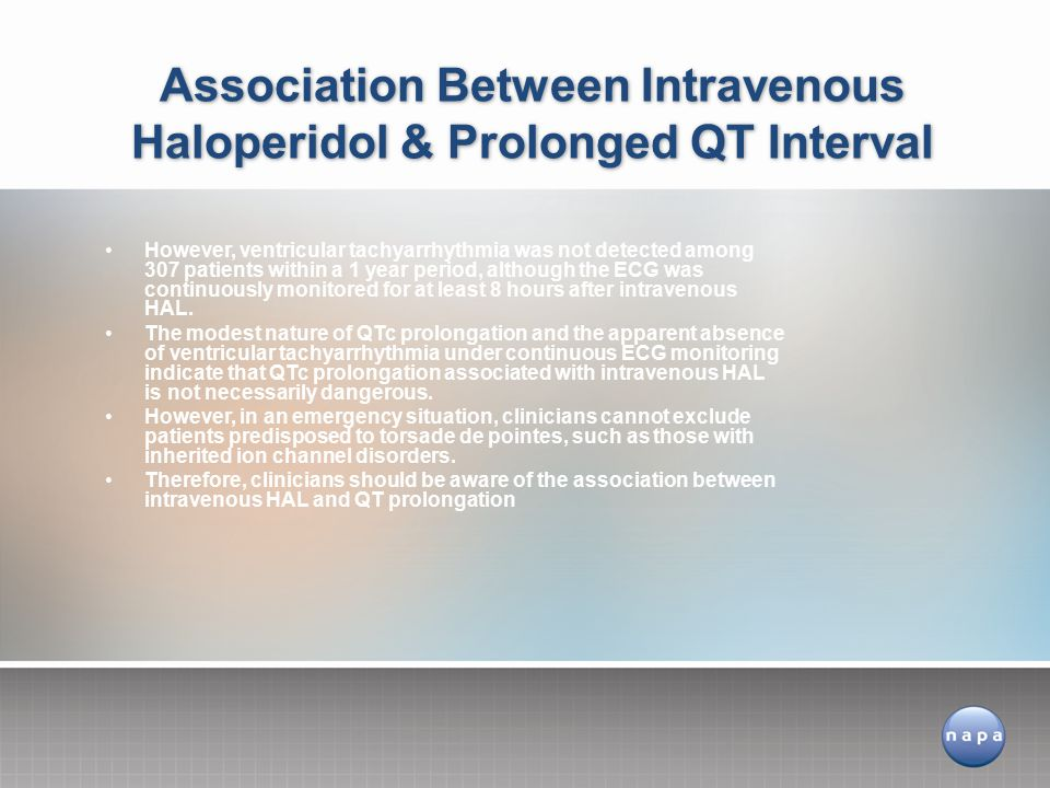 Association Between Intravenous Haloperidol & Prolonged QT Interval