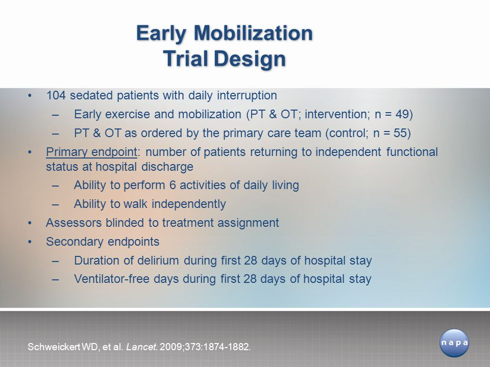 Early Mobilization Trial Design