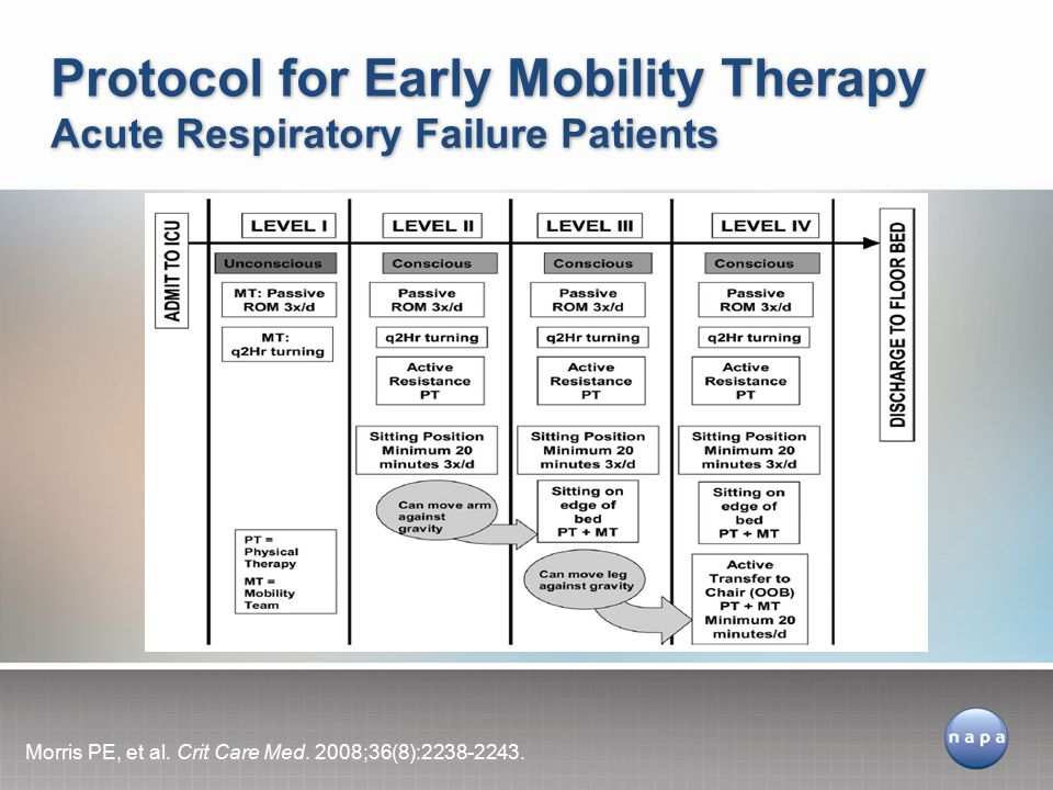 Protocol for Early Mobility Therapy Acute Respiratory Failure Patients