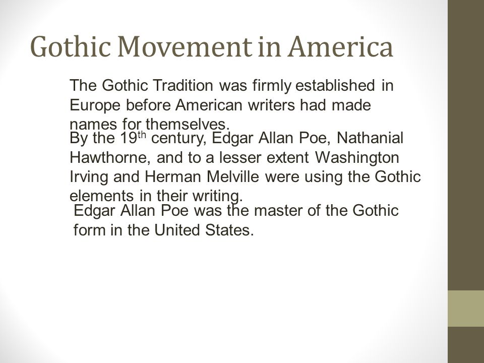 Gothic Movement in America