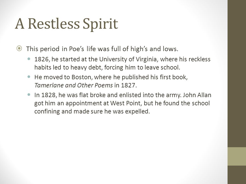 A Restless Spirit This period in Poe's life was full of high's and lows.