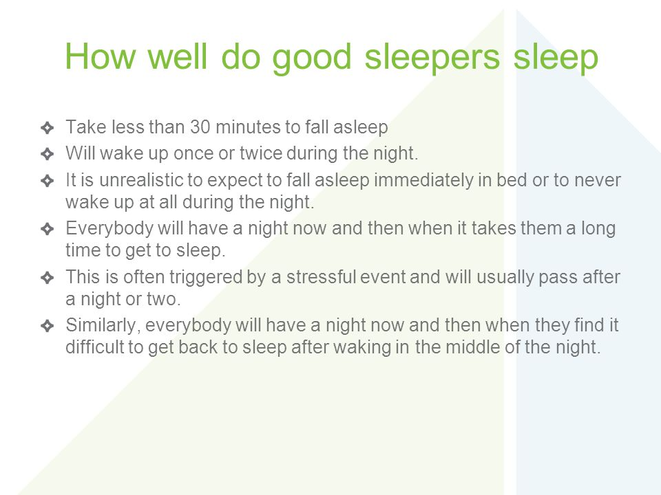 How well do good sleepers sleep