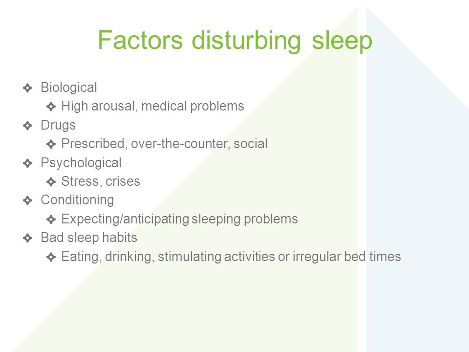 Factors disturbing sleep