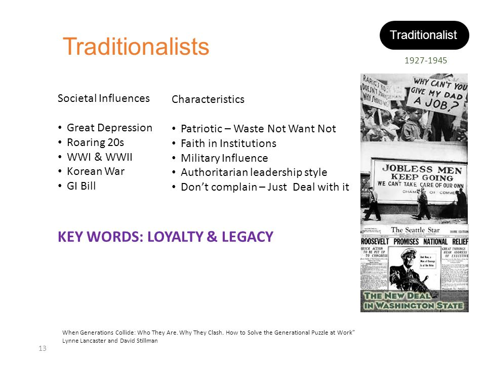 Traditionalists KEY WORDS: LOYALTY & LEGACY Traditionalist