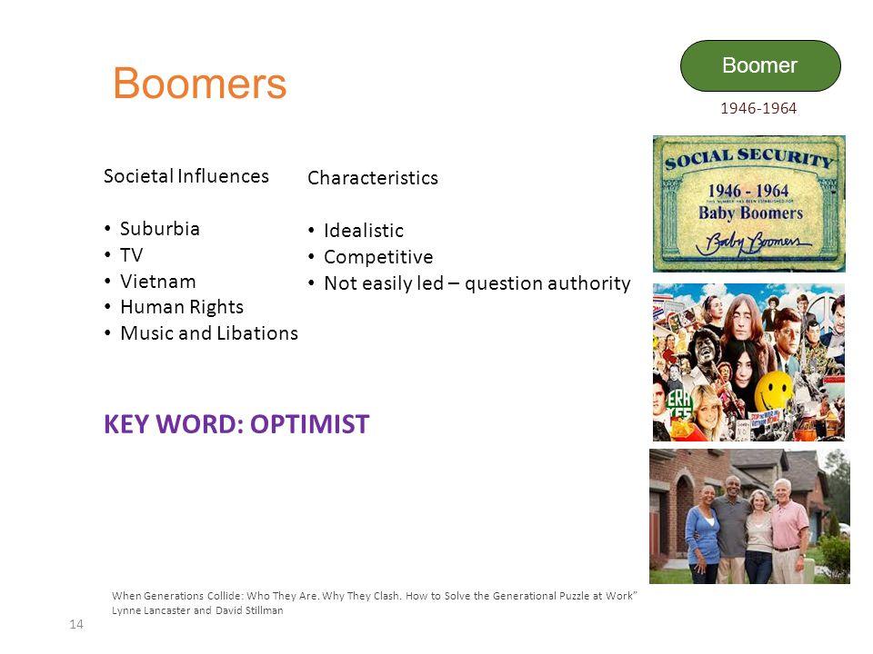 Boomers KEY WORD: OPTIMIST Boomer Societal Influences Characteristics