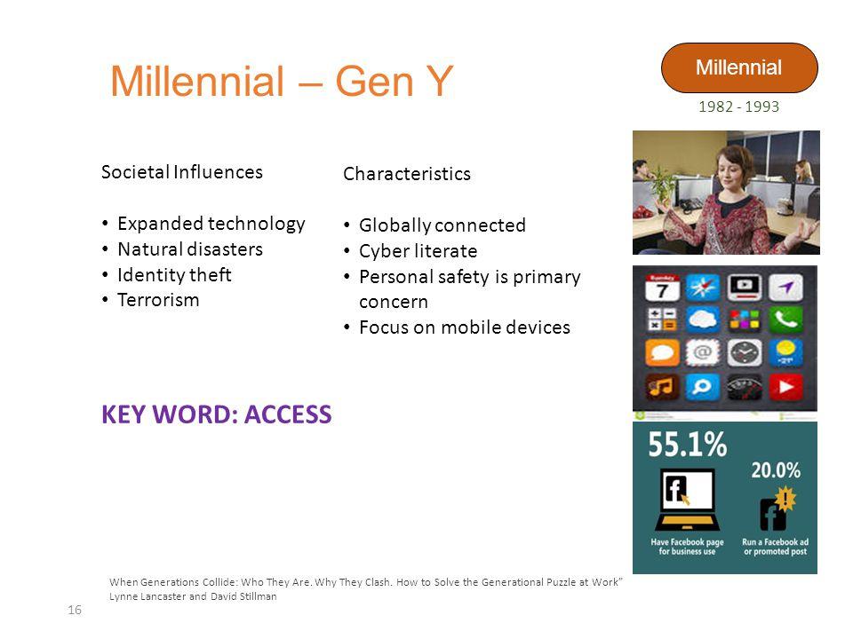 Millennial – Gen Y KEY WORD: ACCESS Millennial Societal Influences