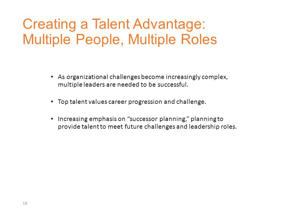 Creating a Talent Advantage: Multiple People, Multiple Roles