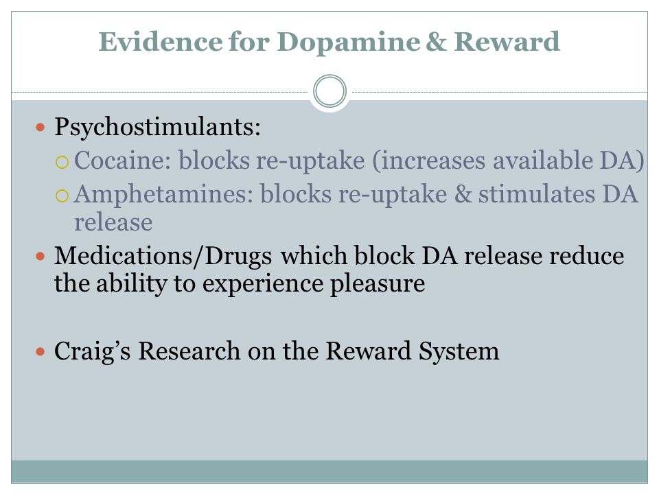 Evidence for Dopamine & Reward