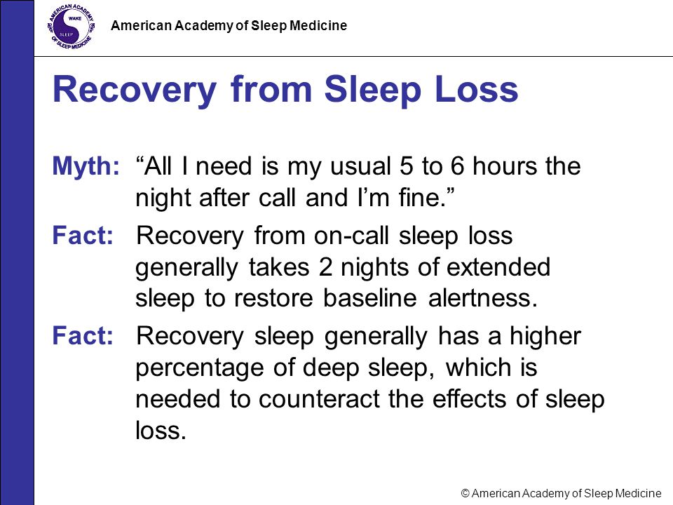 Recovery from Sleep Loss