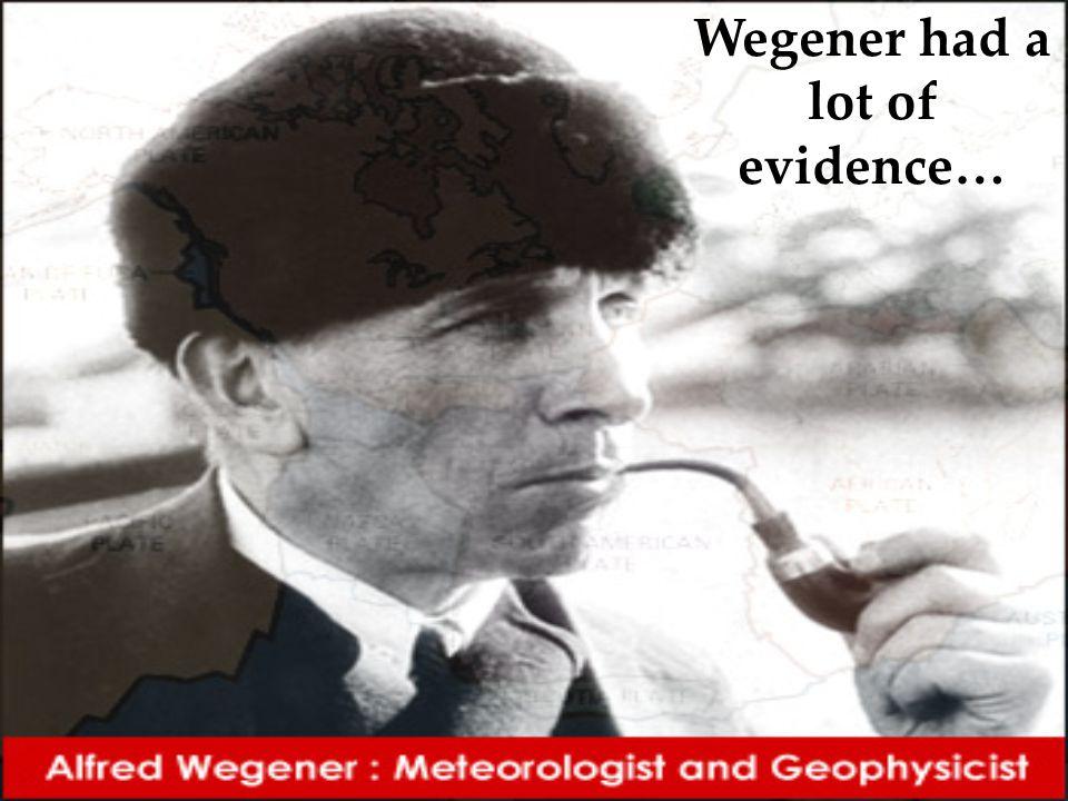Wegener had a lot of evidence…