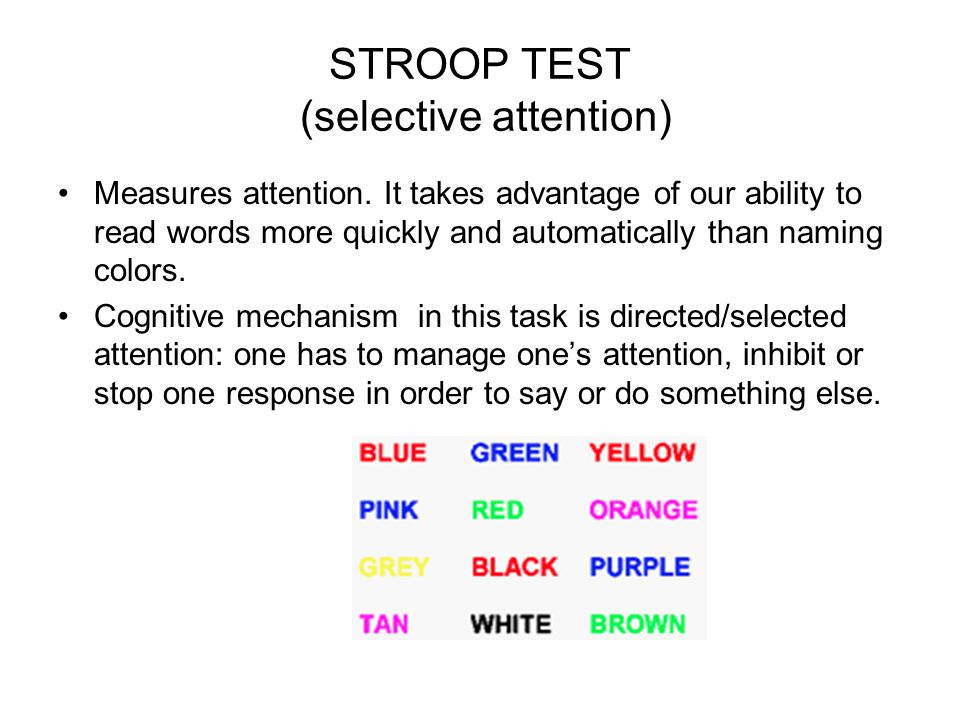 STROOP TEST (selective attention)