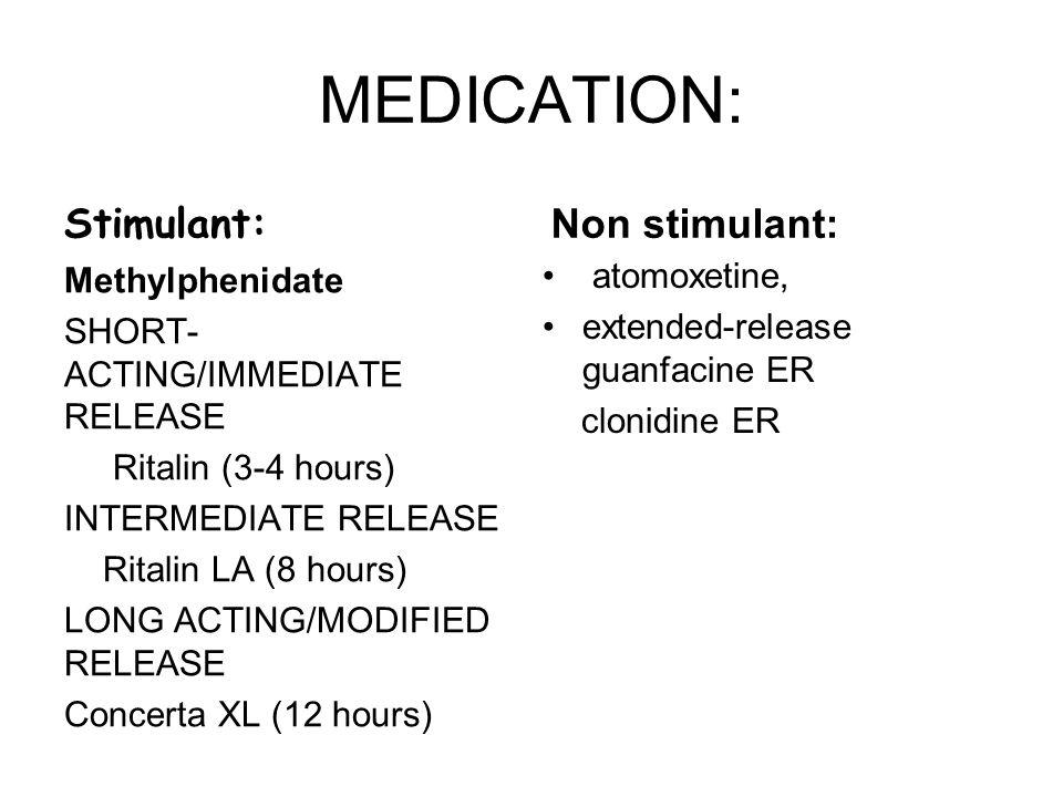 MEDICATION: Stimulant: Non stimulant: atomoxetine,