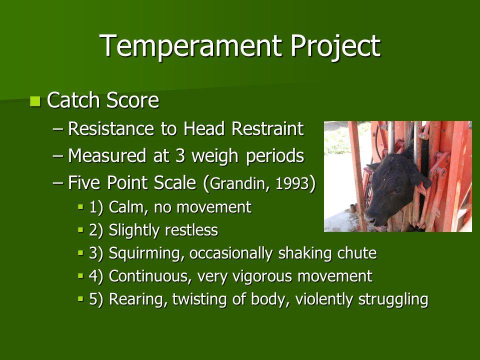 Temperament Project Catch Score Resistance to Head Restraint