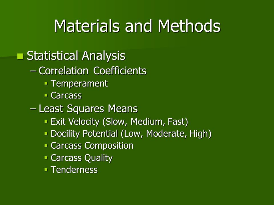 Materials and Methods Statistical Analysis Correlation Coefficients