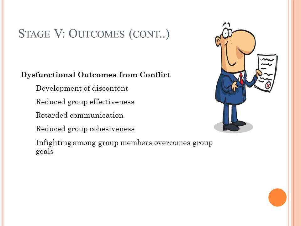 Stage V: Outcomes (cont..)