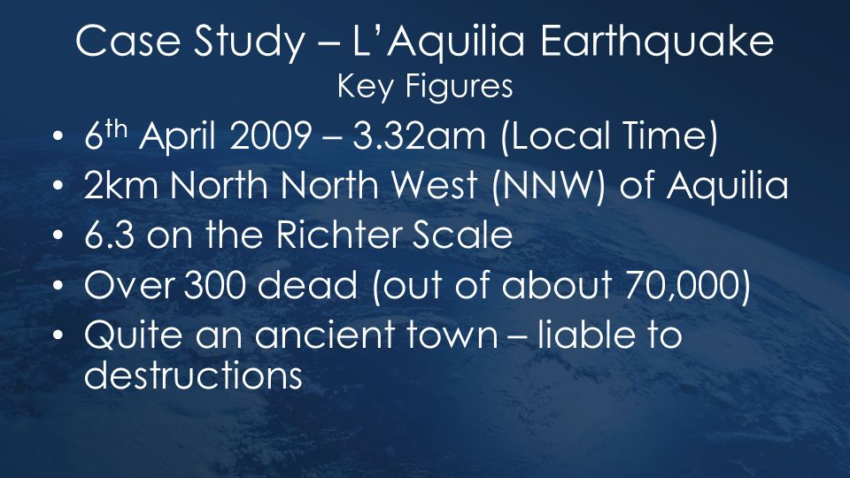 Case Study – L'Aquilia Earthquake Key Figures