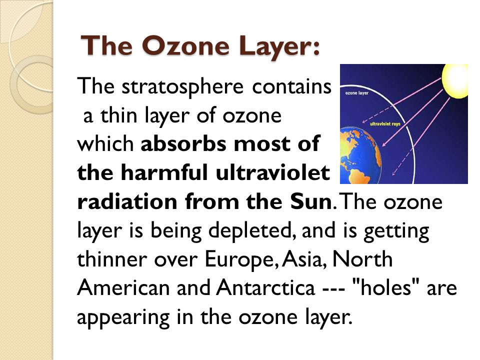 The Ozone Layer: The stratosphere contains a thin layer of ozone
