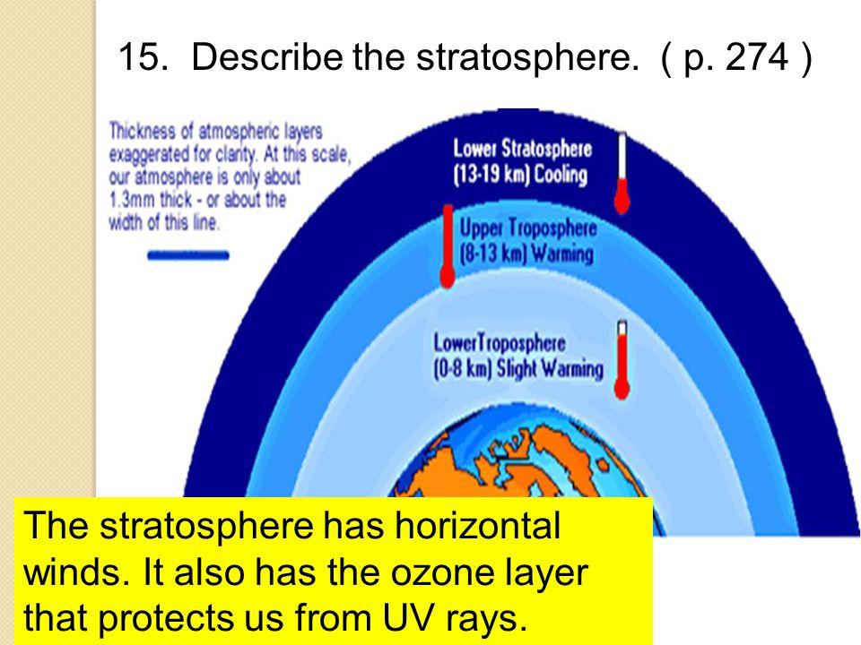 15. Describe the stratosphere. ( p. 274 )