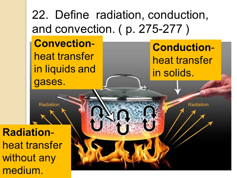 22. Define radiation, conduction, and convection. ( p. 275-277 )