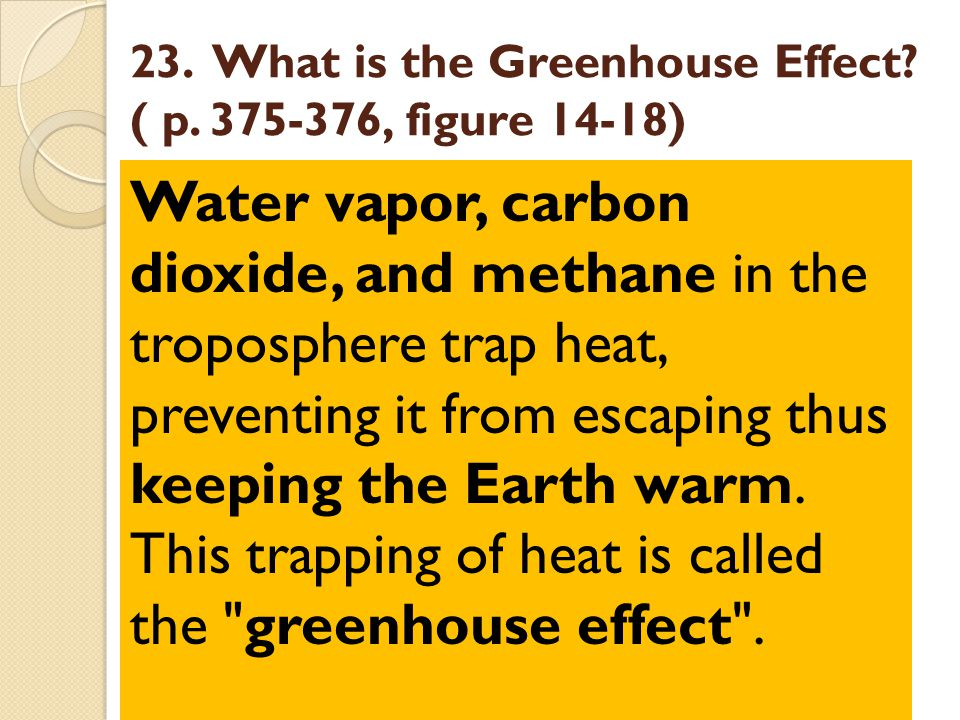 23. What is the Greenhouse Effect ( p. 375-376, figure 14-18)