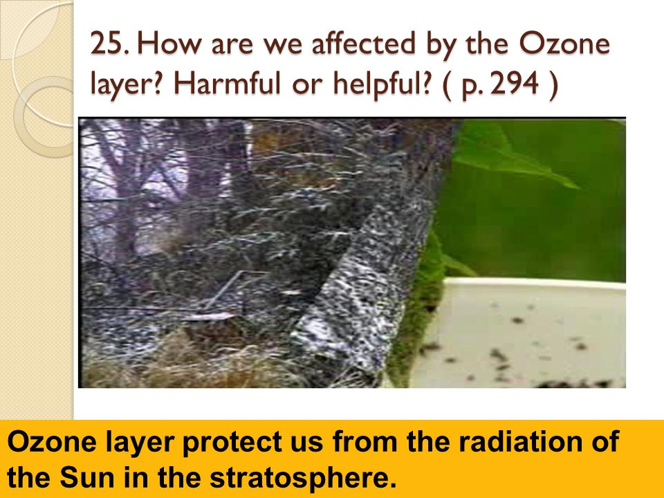 25. How are we affected by the Ozone layer. Harmful or helpful. ( p