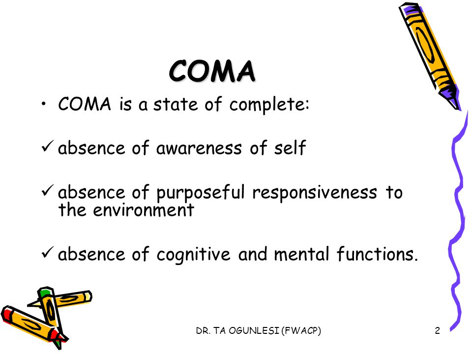 COMA COMA is a state of complete: absence of awareness of self