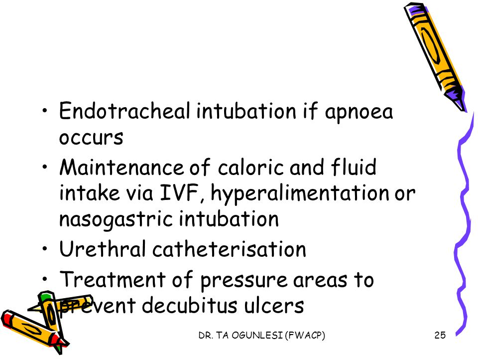 Endotracheal intubation if apnoea occurs