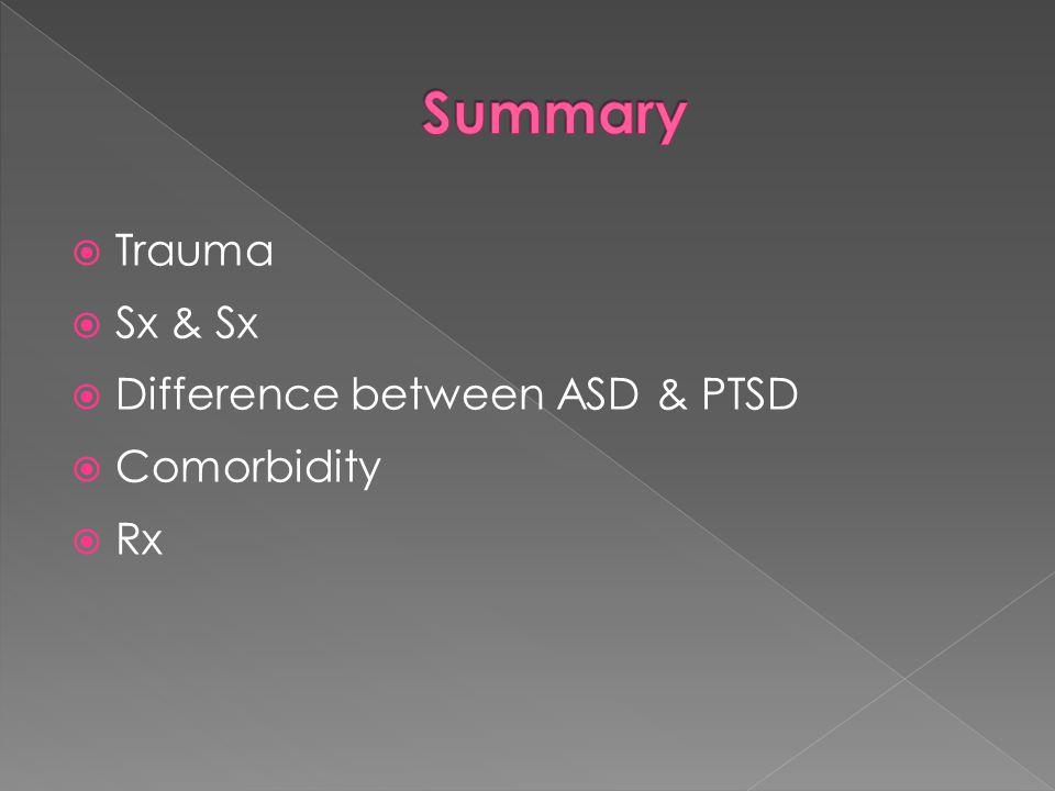Summary Trauma Sx & Sx Difference between ASD & PTSD Comorbidity Rx
