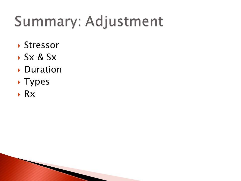 Summary: Adjustment Stressor Sx & Sx Duration Types Rx