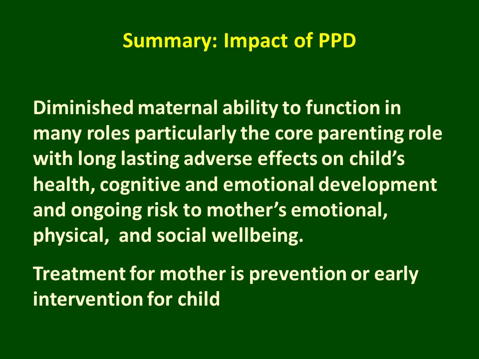Summary: Impact of PPD