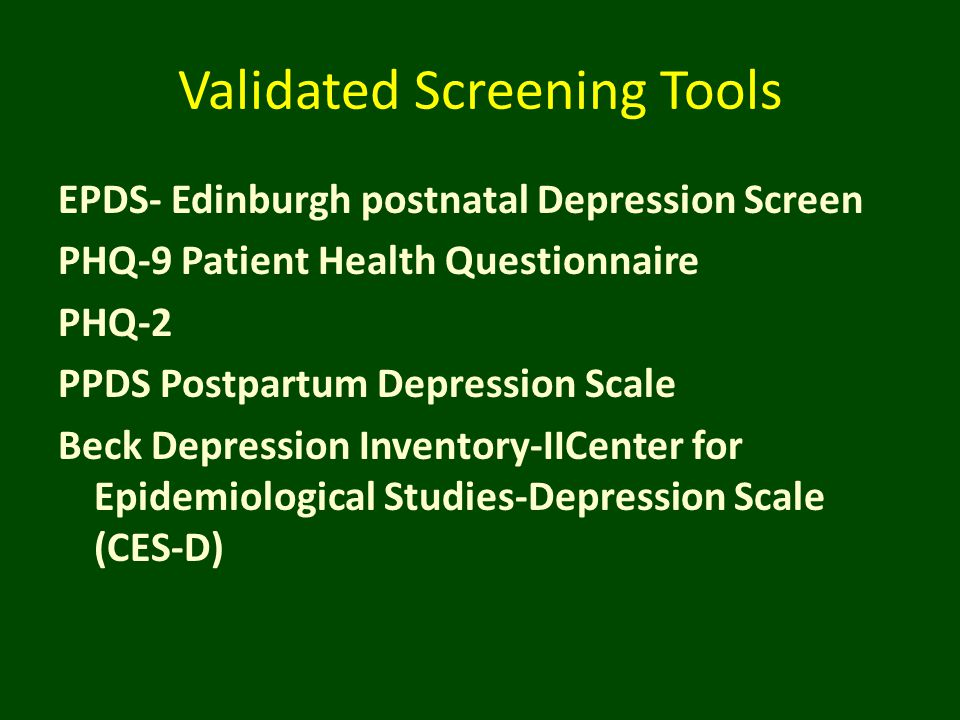 Validated Screening Tools