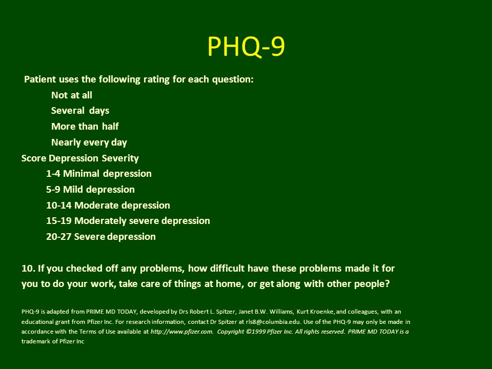 PHQ-9 Patient uses the following rating for each question: Not at all