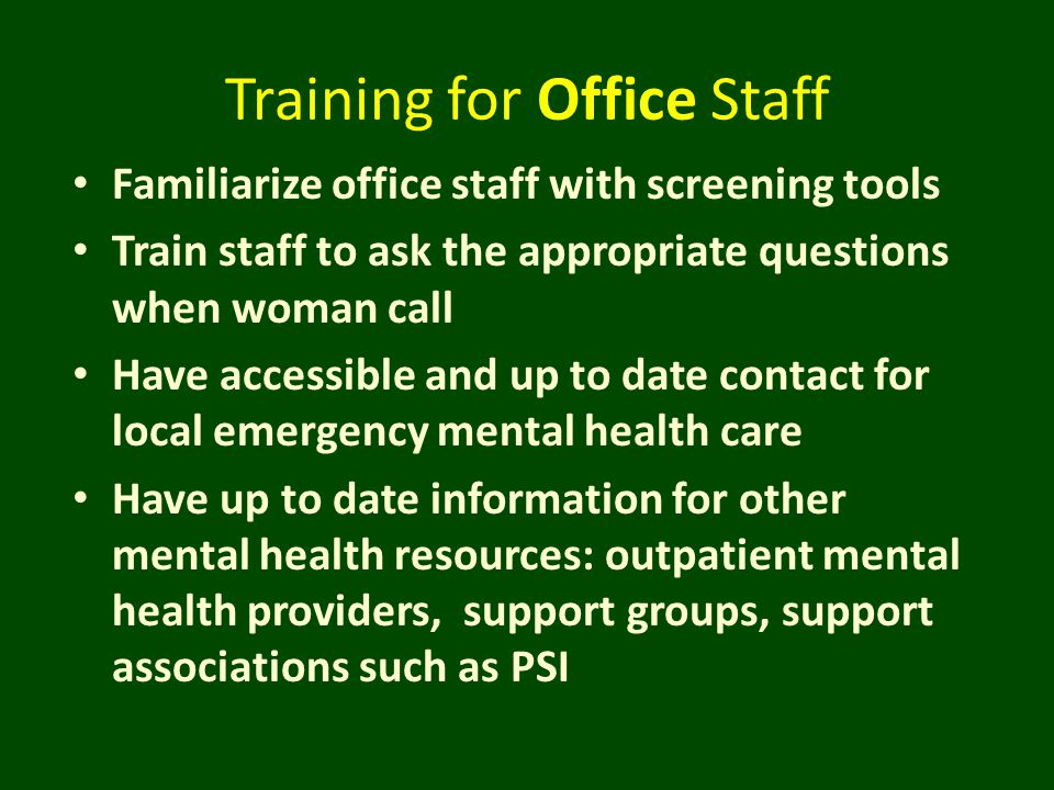 Training for Office Staff