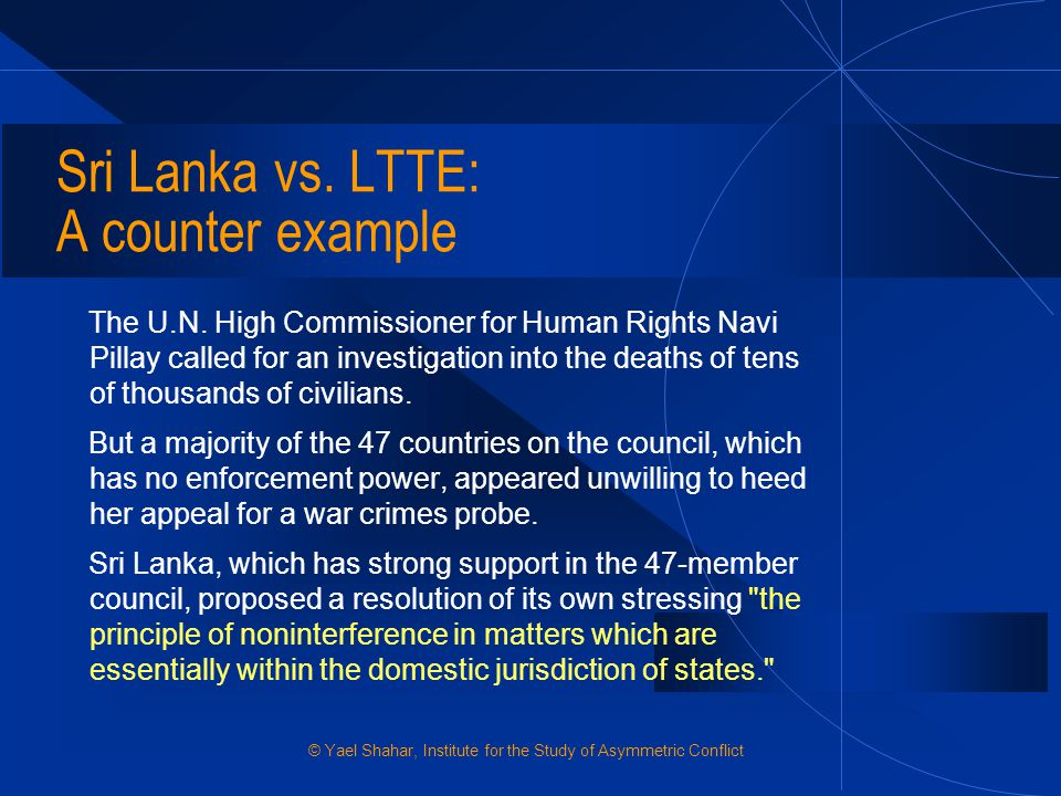 Sri Lanka vs. LTTE: A counter example