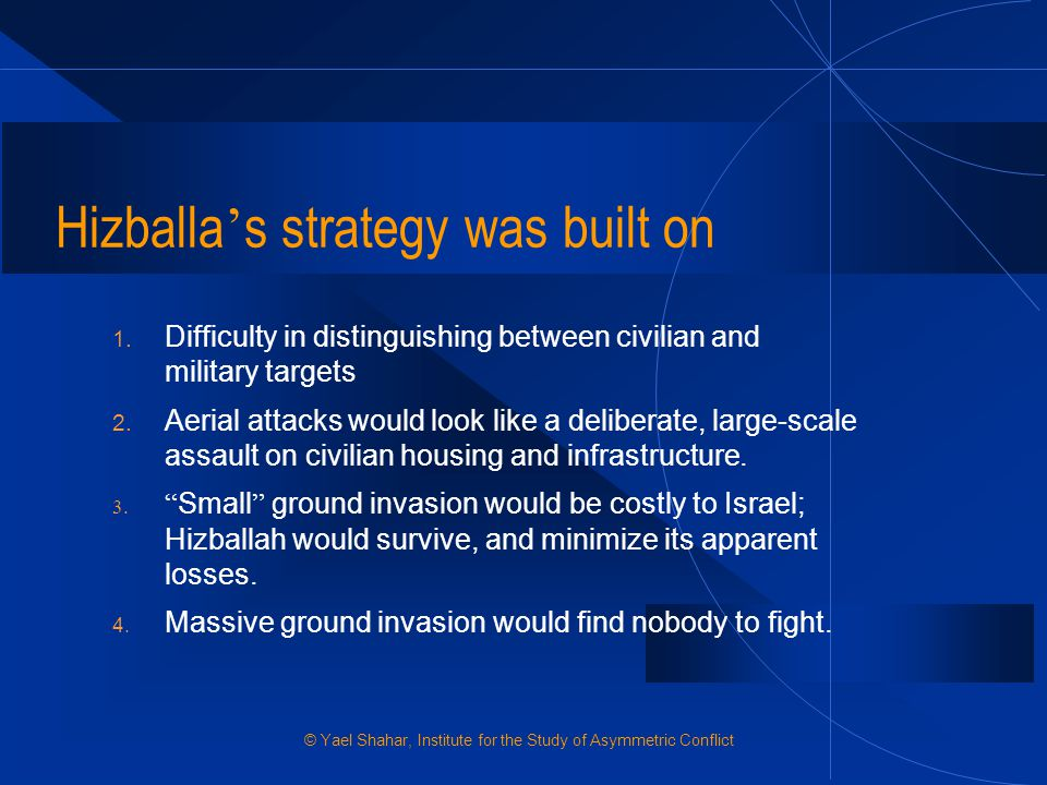 Hizballa's strategy was built on