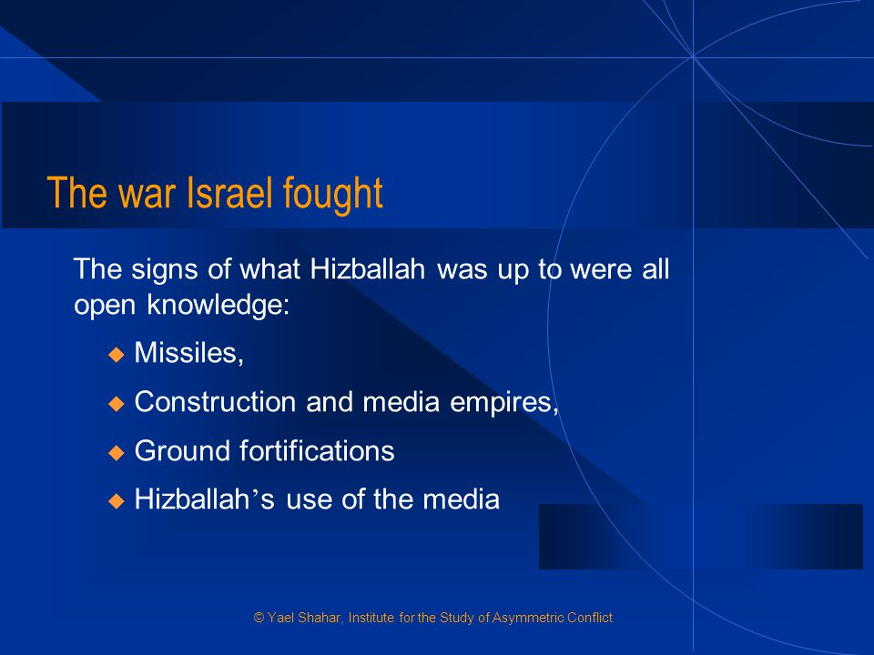 The war Israel fought The signs of what Hizballah was up to were all open knowledge: Missiles, Construction and media empires,