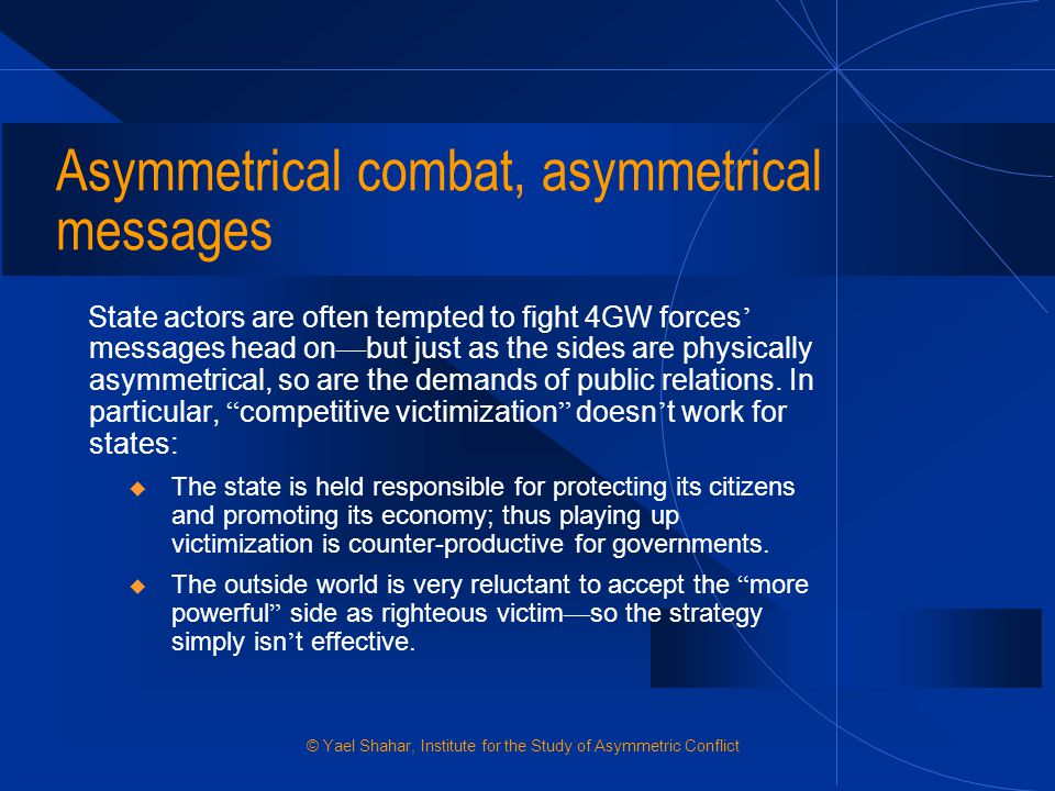 Asymmetrical combat, asymmetrical messages
