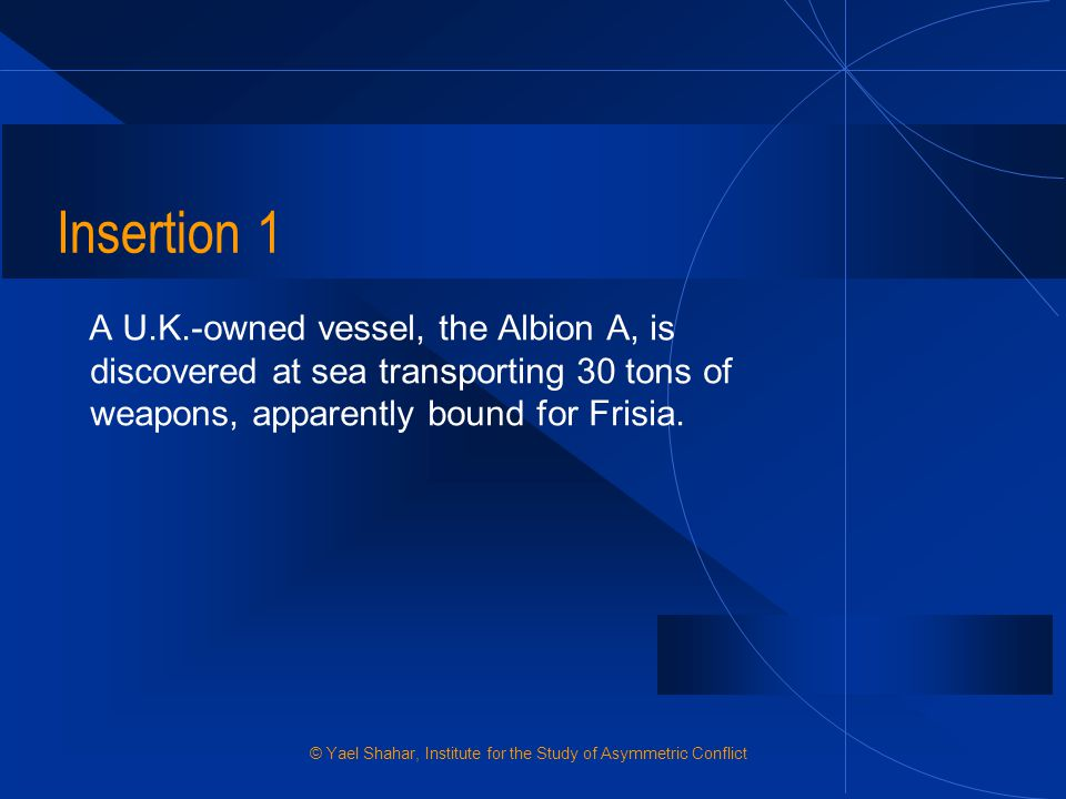 Insertion 1 A U.K.-owned vessel, the Albion A, is discovered at sea transporting 30 tons of weapons, apparently bound for Frisia.