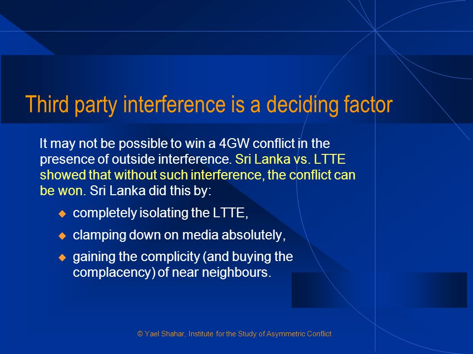 Third party interference is a deciding factor
