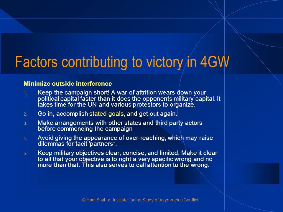Factors contributing to victory in 4GW