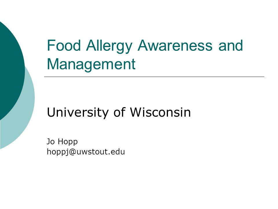 Food Allergy Awareness and Management