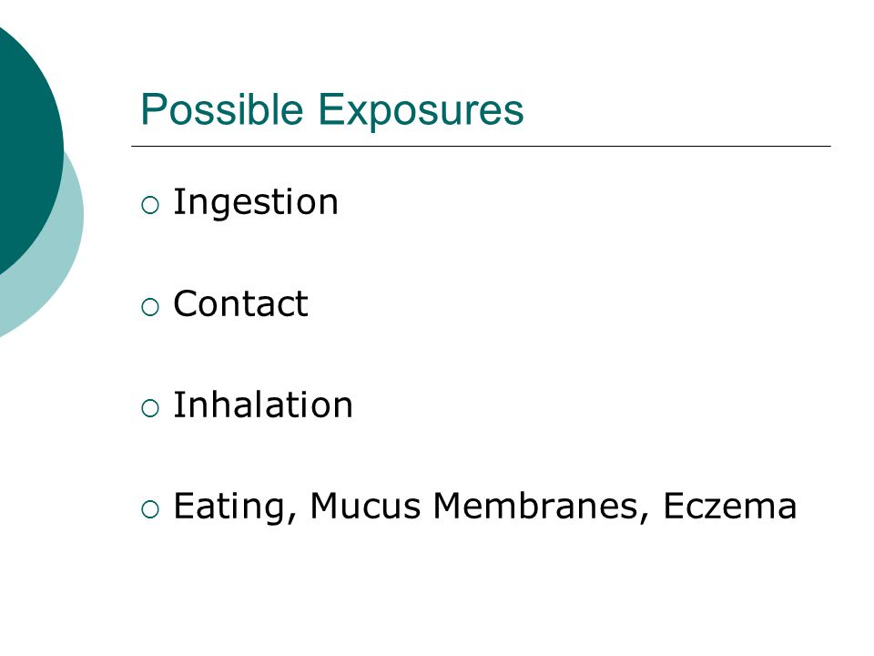 Possible Exposures Ingestion Contact Inhalation