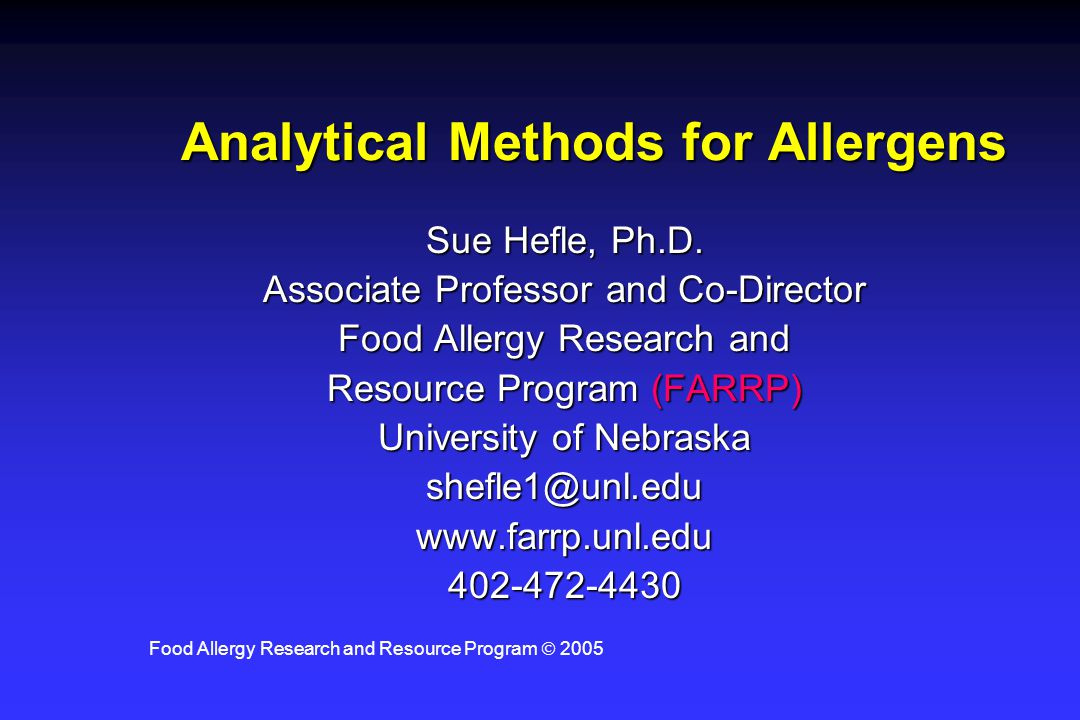 Analytical Methods for Allergens
