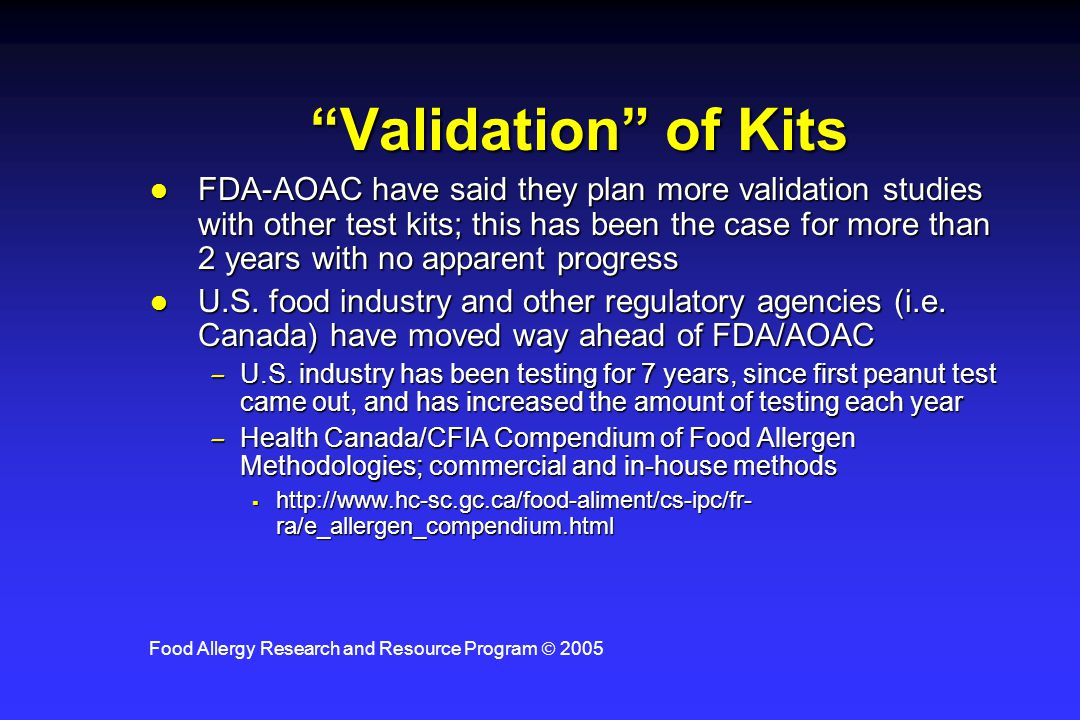 Food Allergy Research and Resource Program  2005