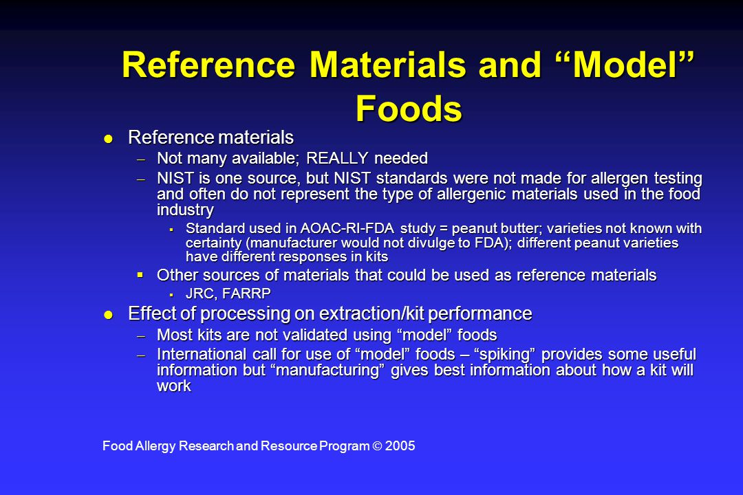 Reference Materials and Model Foods
